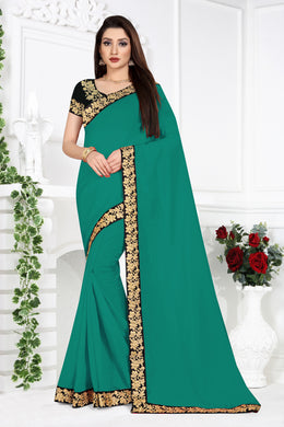 Ceremany Wear Pretty Sea Green Vichitra Silk Embroidered Work With Newest Saree