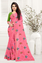 Pink Chiffon Silk Thread Embroidered Work With Saree