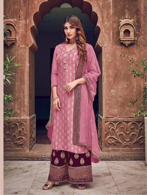 Pink Color Salwar Kameez Faux Georgette Fabric Embroidered Party Wear Plazzo