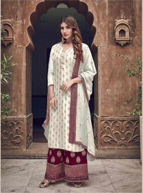 White Color Salwar Kameez Faux Georgette Fabric Embroidered Party Wear Plazzo