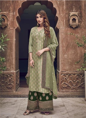 Green Color Salwar Kameez Faux Georgette Fabric Embroidered Party Wear Plazzo