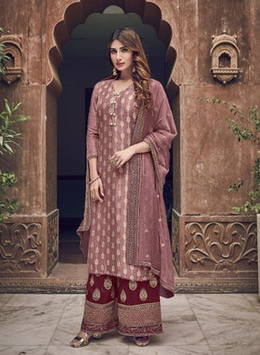 Light Maroon Color Salwar Kameez Faux Georgette Fabric Embroidered Party Wear Plazzo