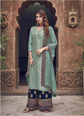Sea Green Color Salwar Kameez Faux Georgette Fabric Embroidered Party Wear Plazzo