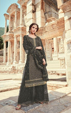 ▶️ Black Color Embroidered Georgette Pakistani Sharara Suit Salwar