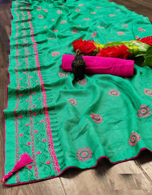 Jadegreen Cotton Linen With Embroidery ,stone,and Fancy Piping Border Saree