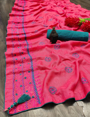 Darkpink Cotton Linen With Embroidery ,stone,and Fancy Piping Border Saree
