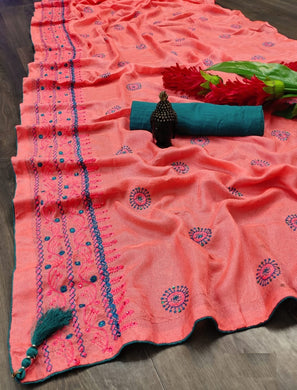 Peach Cotton Linen With Embroidery ,stone,and Fancy Piping Border Saree