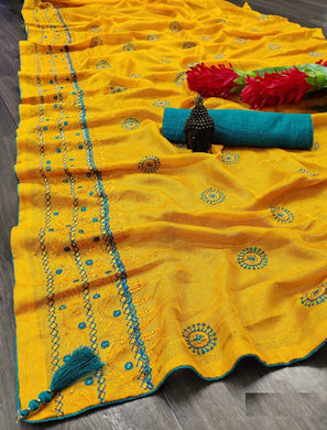 Yellow Cotton Linen With Embroidery ,stone,and Fancy Piping Border Saree