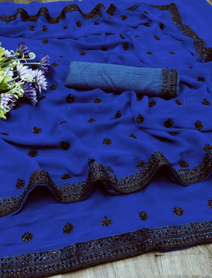 Blue 60 Gram/georgette Fancy Embroidery And Stone Work Saree
