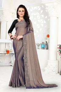 Umber Brown Moss Fabric With Jari Knittes Amazingly Smooth Fabric Saree