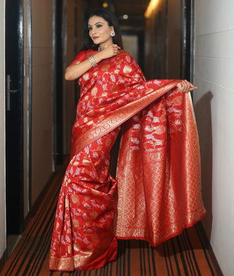 Red Color Breathable Organic Banarasi Sarees
