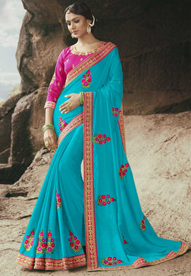 Blue Color Silk With Embroidery Lace Work