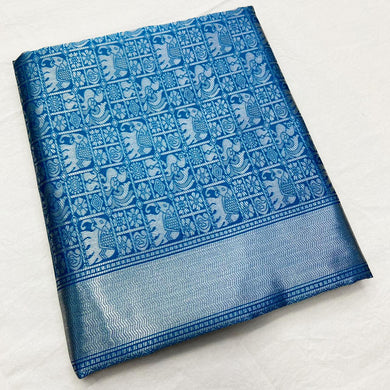 Blue Color Silk Zari Weaving Contrast Pallu Saree