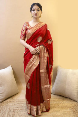 Red Color Soft Banarasi Silk With Jacquard Work Saree