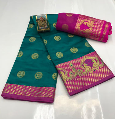 Green Color Silver Zari Patta With Linen Silk Saree