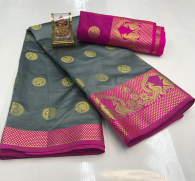 Grey Color Silver Zari Patta With Linen Silk Saree