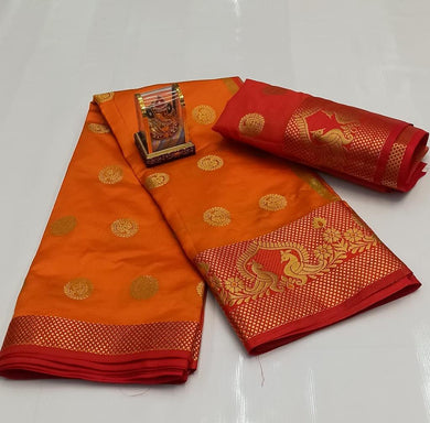 Mustard Color Silver Zari Patta With Linen Silk Saree