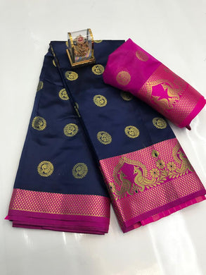 Navy Color Silver Zari Patta With Linen Silk Saree