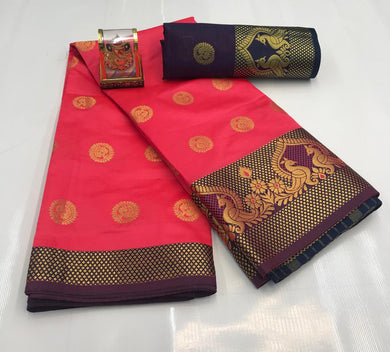 Pink Color Silver Zari Patta With Linen Silk Saree
