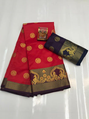 Red Color Silver Zari Patta With Linen Silk Saree