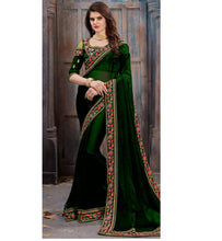 Green Color Georgette With Heavy Embroidery Work Border