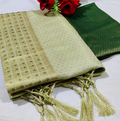 Green Color Linen Saree With Weaving Zari Border