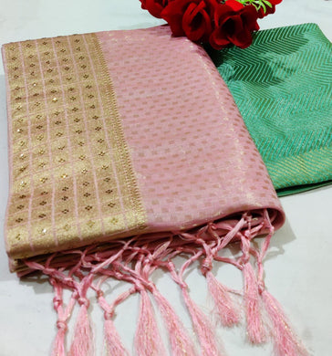 Pink Color Linen Saree With Weaving Zari Border