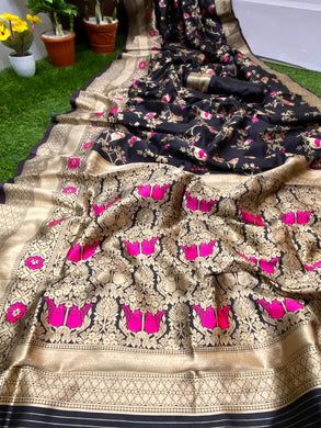 Black Color Banarasi Silk With Zari Pallu Saree