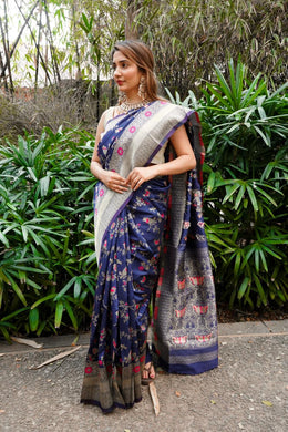 Navy Blue Color Banarasi Silk With Zari Pallu Saree