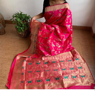 Pink Color Banarasi Silk With Zari Pallu Saree