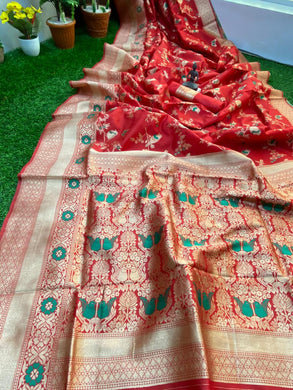 Red Color Banarasi Silk With Zari Pallu Saree
