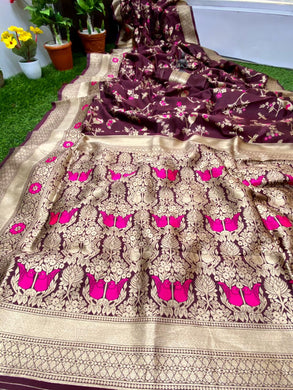 Wine Color Banarasi Silk With Zari Pallu Saree