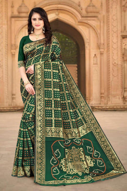 Green Color Banarasi Silk Printed Saree