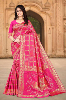 Pink Color Banarasi Silk Printed Saree