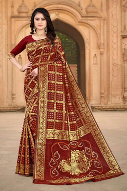 Red Color Banarasi Silk Printed Saree
