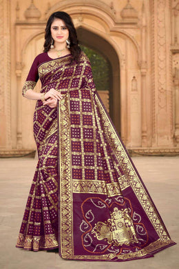 Wine Color Banarasi Silk Printed Saree
