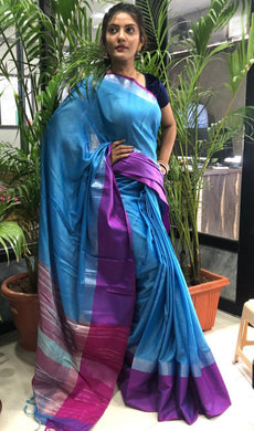 Blue Color Linen Woven Saree With Contrast Border