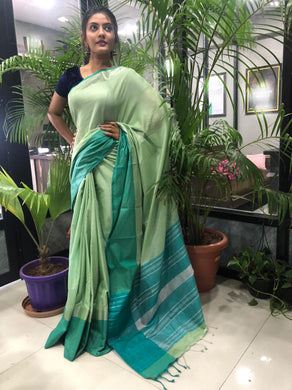 Green Color Linen Woven Saree With Contrast Border