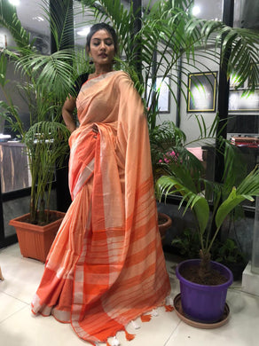 Orange Color Linen Woven Saree With Contrast Border