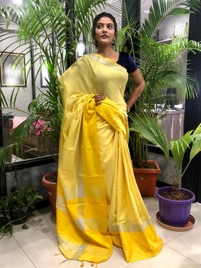 Yellow Color Linen Woven Saree With Contrast Border