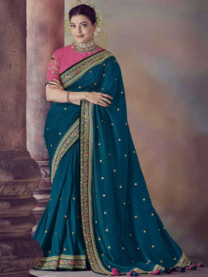 Blue Color Vichitra Silk Saree With Embroidery Border