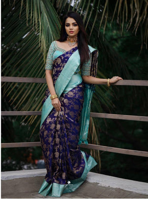 Navy Blue Banarasi Silk With Hand Work Saree