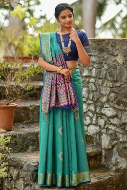 Blue Color Cotton Weaving Zari Border Saree