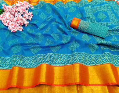 Blue Color Cotton Printed With Zari Border