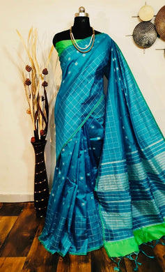 Blue Raw Silk Weaving Saree With Checks Woven Border