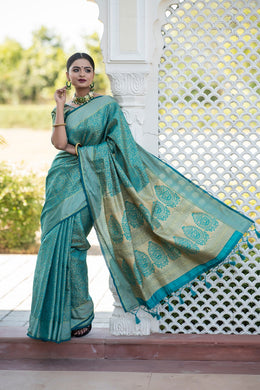 Blue Color Silk With Zari Contrast Pallu Border Saree