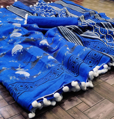 Blue Color Printed Cotton Designer Border Saree