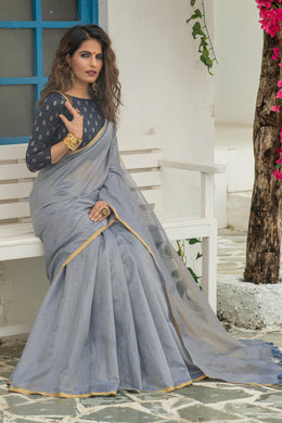Grey Color Linen Weaving Zari Border Saree