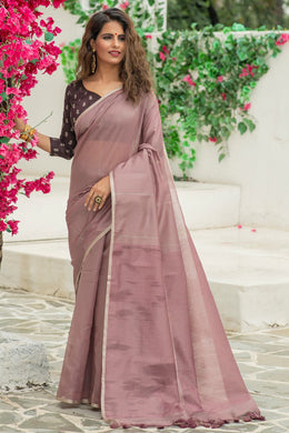 Plum Violet Color Linen Weaving Zari Border Saree