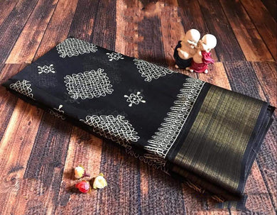 Black Color Linen With Temple Border Saree